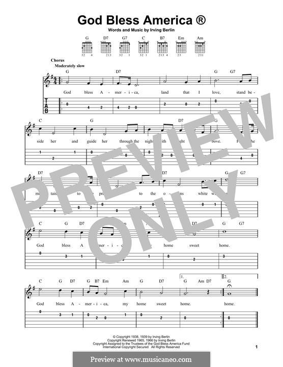 Instrumental version: For guitar by Irving Berlin