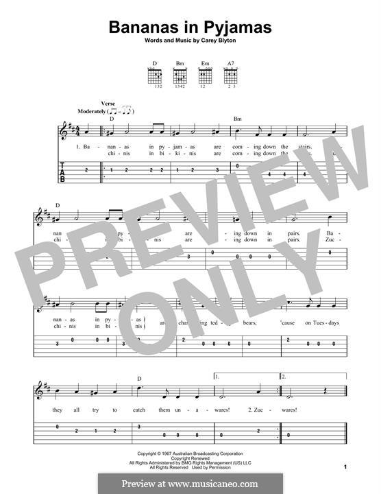 Bananas in Pyjamas: For guitar by Carey Blyton