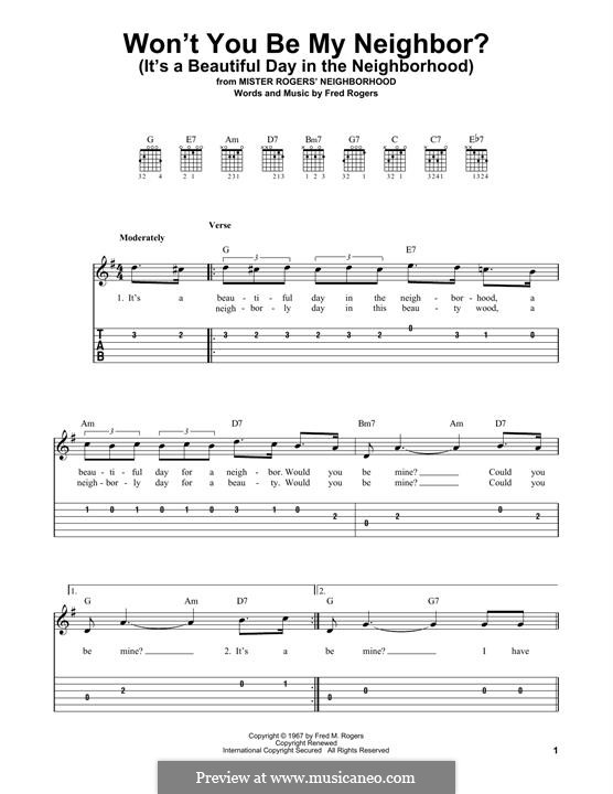 Won't You Be My Neighbor? (It's a Beautiful Day in the Neighborhood): For guitar by Fred Rogers