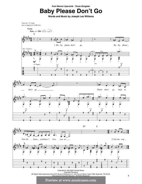 Baby, Please Don't Go (Them): For guitar by Joseph Lee Williams