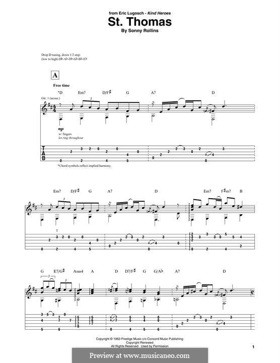 Vocal-instrumental version: For guitar by Sonny Rollins