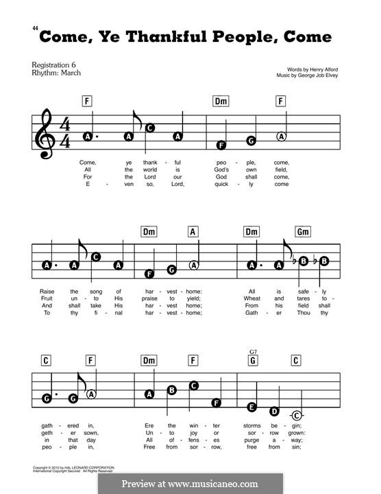 Come, Ye Thankful People, Come: For easy piano by George Job Elvey