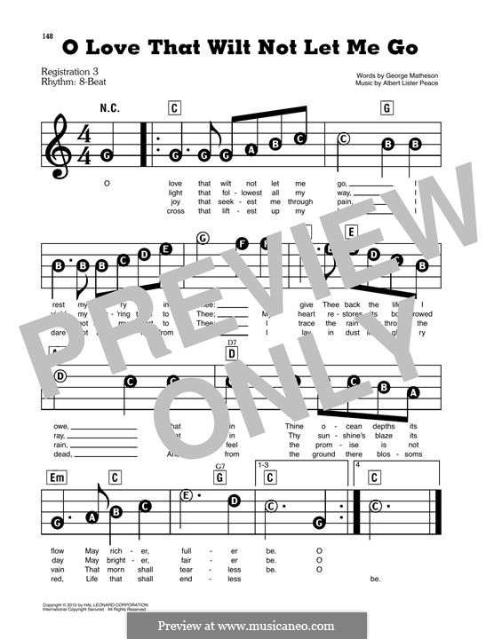 O Love that Wilt not Let Me Go: For piano by Albert Lister Peace