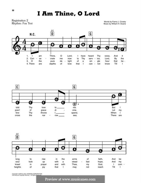 I am Thine, O Lord: For piano by William Howard Doane