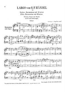 Largo: For violin, harmonium and piano – harmonium part by Georg Friedrich Händel