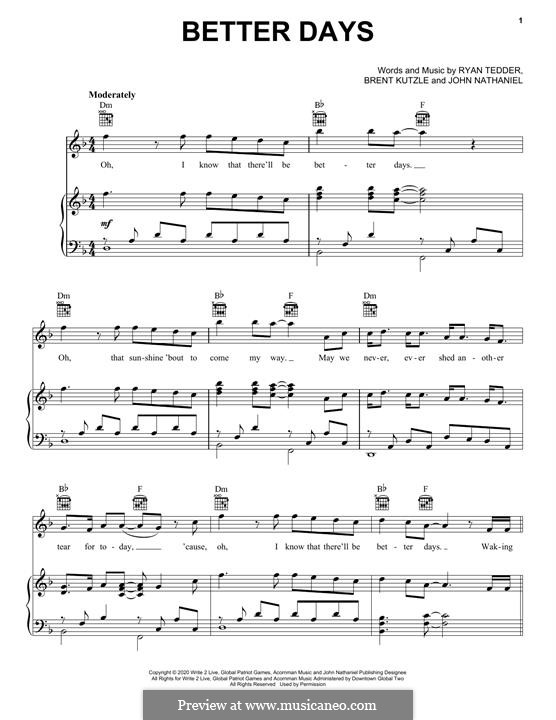 Better Days (OneRepublic): For voice and piano (or guitar) by Brent Kutzle, Ryan B Tedder