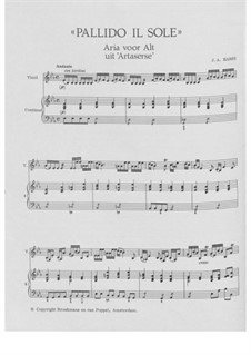 Artaserse: Pallido il Sole, for voice, violin and basso continuo by Johann Adolph Hasse