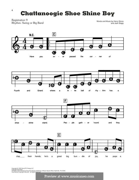 Chattanoogie Shoe-Shine Boy (Glen Miller): For piano by Harry Stone, Jack Stapp