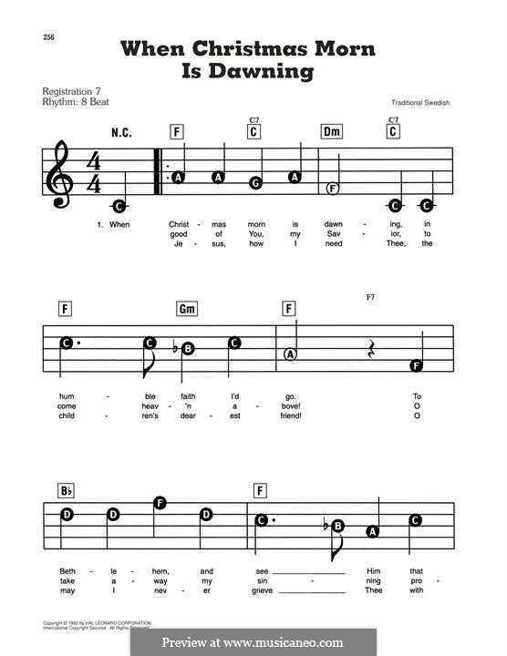 When Christmas Morn Is Dawning: For piano by folklore