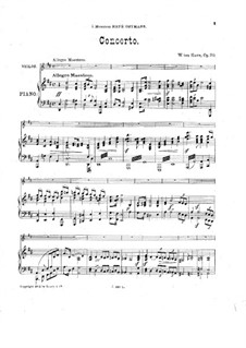 Violin Concerto in D Major, Op.30: Version for violin and piano by William ten Have