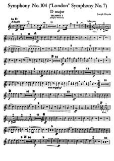Symphony No.104 in D Major 'London', Hob.I/104: Trumpet I part by Joseph Haydn