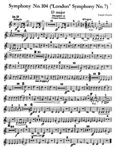 Symphony No.104 in D Major 'London', Hob.I/104: Trumpet II part by Joseph Haydn