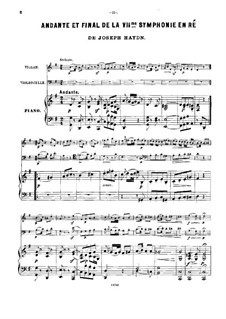 Symphony No.104 in D Major 'London', Hob.I/104: Movements II and IV, for violin, cello and piano by Joseph Haydn