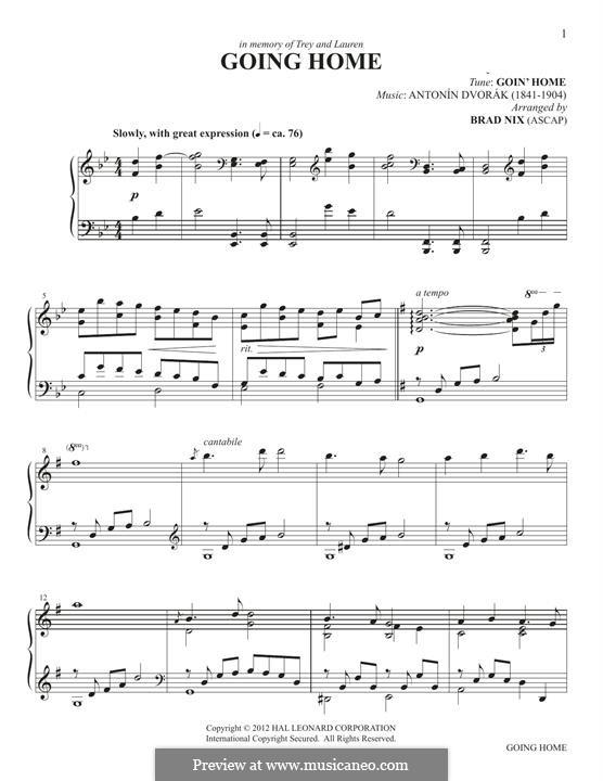 Movement II (Largo) Printable Scores: Theme, for easy piano by Antonín Dvořák