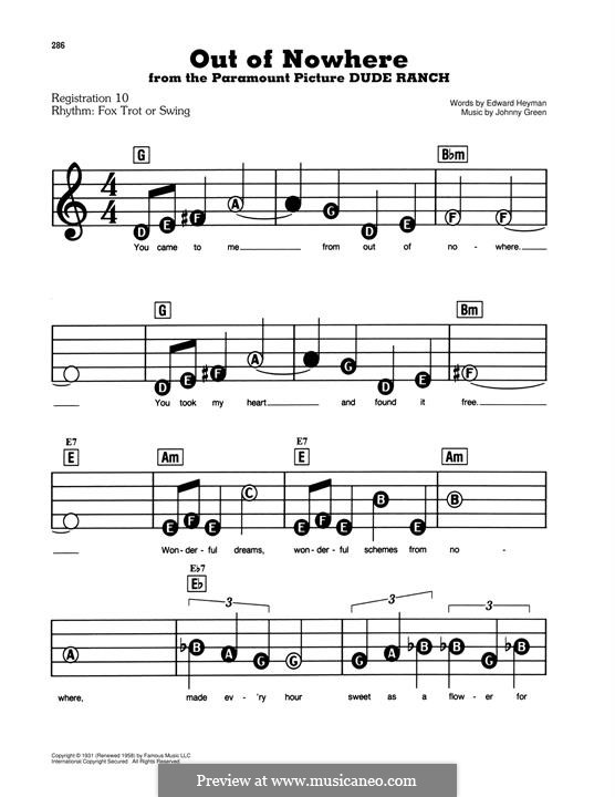 Out of Nowhere: For easy piano by John W. Green