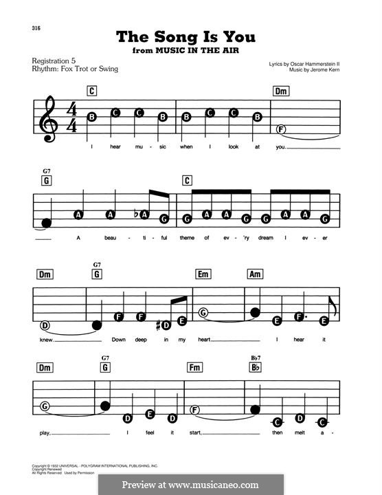 The Song is You: For piano by Jerome Kern