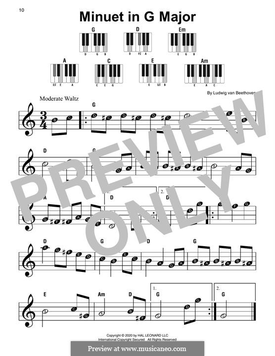 Minuet in G Major: For piano by Ludwig van Beethoven