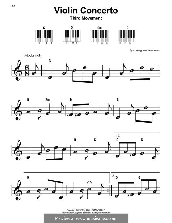 Concerto for Violin and Orchestra in D Major, Op.61: Movement III, Theme for easy piano by Ludwig van Beethoven