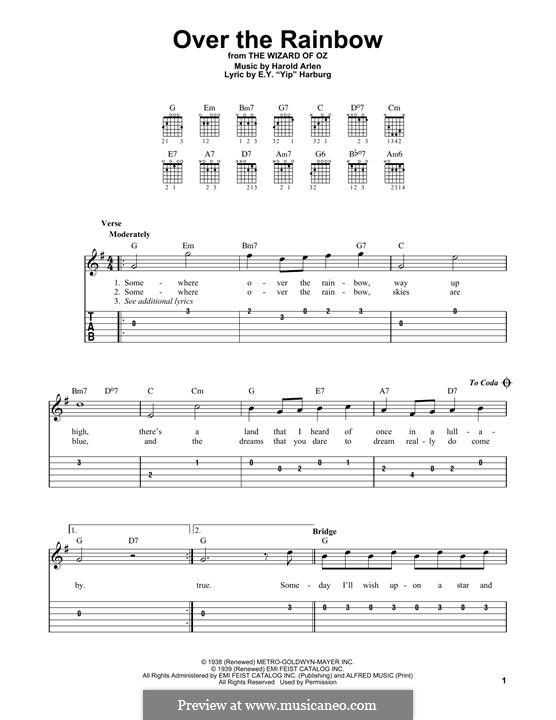 Over the Rainbow (from The Wizard of Oz): For guitar by Harold Arlen