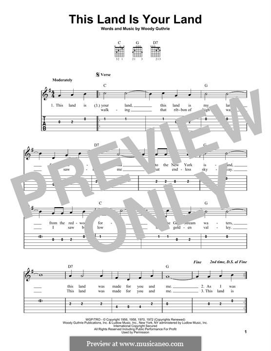 This Land Is Your Land (The New Christy Minstrels): For guitar by Woody Guthrie