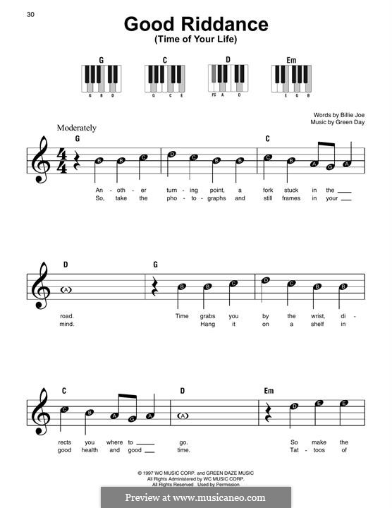 Good Riddance (Time of Your Life): For easy piano by Billie Joe Armstrong, Tré Cool, Michael Pritchard