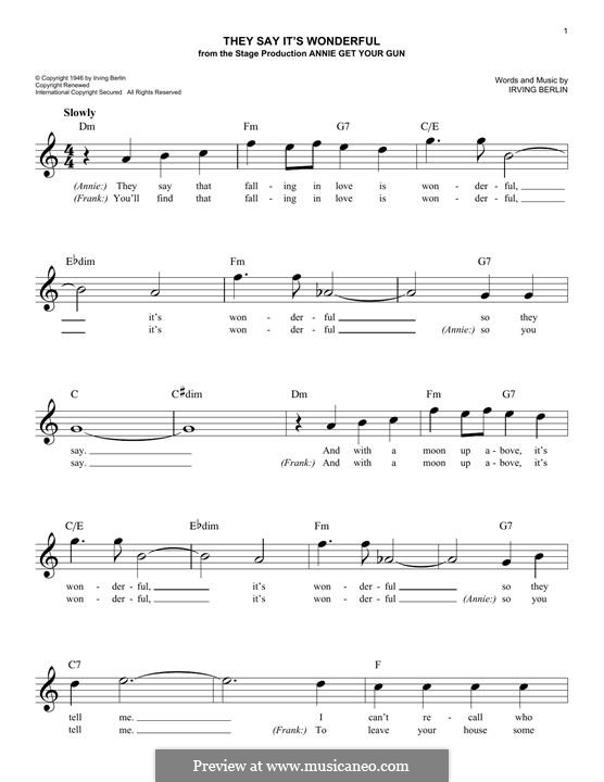 They Say It's Wonderful: For keyboard by Irving Berlin