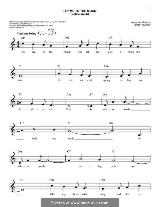 Fly Me to the Moon (In Other Words): For keyboard (Frank Sinatra) by Bart Howard