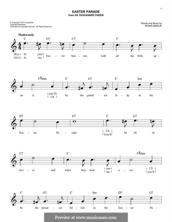 Easter Parade: For keyboard by Irving Berlin