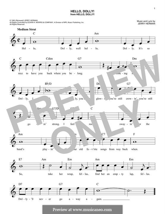 Hello Dolly (Louis Armstrong): For keyboard by Jerry Herman