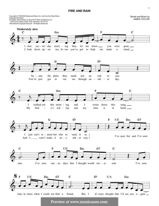 Fire and Rain: For keyboard by James Taylor