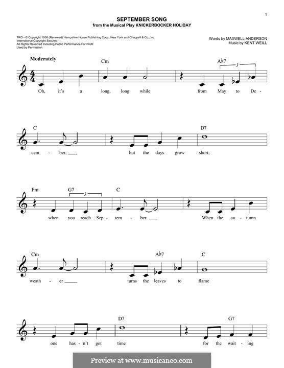 September Song: For keyboard by Kurt Weill
