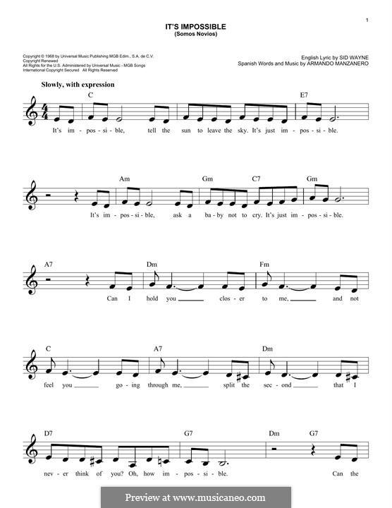 It's Impossible (Somos Novios): For keyboard by Armando Manzanero, Sid Wayne