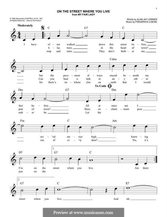 On the Street Where You Live (from My Fair Lady): For keyboard by Frederick Loewe