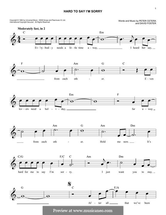 Hard to Say I'm Sorry (Chicago): For keyboard by David Foster, Peter Cetera