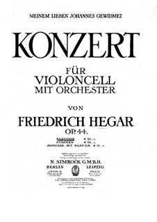 Cello Concerto in C Minor, Op.44: Cello Concerto in C Minor by Friedrich Hegar
