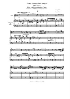 Sonata for Flute and Harpsichord (or Piano) in F major, TWV 42:Es3: Sonata for Flute and Harpsichord (or Piano) in F major by Georg Philipp Telemann