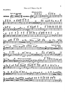 Mass in C Major, Op.86: Flutes I, II parts by Ludwig van Beethoven
