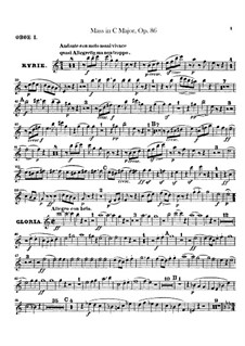 Mass in C Major, Op.86: Oboes I, II parts by Ludwig van Beethoven