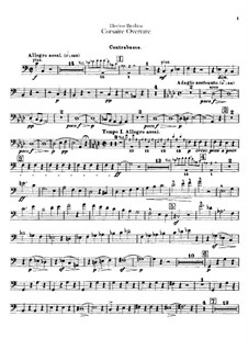 Le Corsaire. Overture, H.101 Op.21: Double bass part by Hector Berlioz