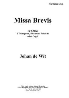 Missa Brevis: Klavierauszug by Johan de Wit