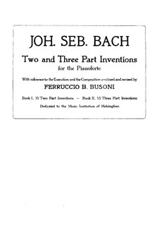 Complete set, BWV 772-786: Edited by F. Busoni by Johann Sebastian Bach