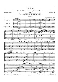 Trio for Two Oboes and Cor Anglais, Op.87: Full score by Ludwig van Beethoven