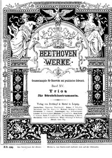 String Trio No.2 in D Major 'Serenade', Op.8: Version for piano four hands by A. Horn by Ludwig van Beethoven