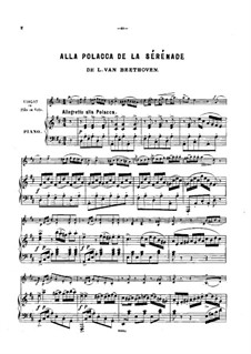 String Trio No.2 in D Major 'Serenade', Op.8: Movement IV, for violin (or cello, or flute) and piano by Ludwig van Beethoven