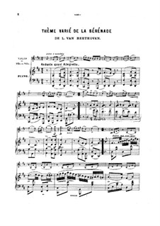 String Trio No.2 in D Major 'Serenade', Op.8: Movement V, for violin (or cello, or flute) and piano by Ludwig van Beethoven