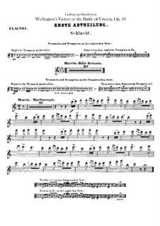 Wellington's Victory, or the Battle of Vitoria, Op.91: Flutes parts by Ludwig van Beethoven