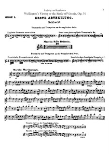 Wellington's Victory, or the Battle of Vitoria, Op.91: Oboes I, II parts by Ludwig van Beethoven