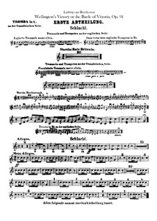 Wellington's Victory, or the Battle of Vitoria, Op.91: Trumpets in C, in Es parts by Ludwig van Beethoven