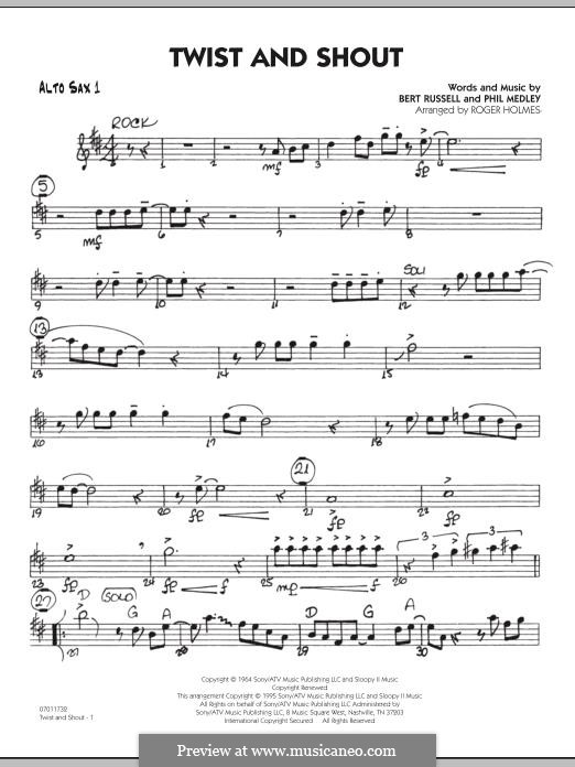 Twist and Shout (The Beatles), for Orchestra (arr. Roger Holmes): Alto Sax 1 part by Bert Russell, Phil Medley