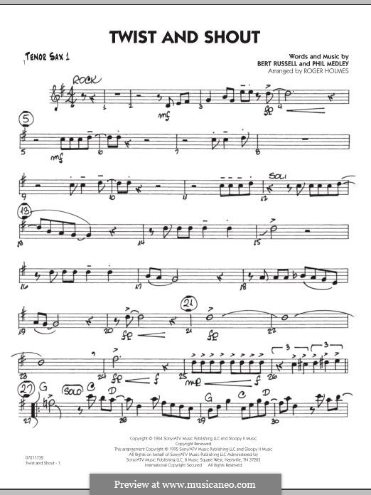 Twist and Shout (The Beatles), for Orchestra (arr. Roger Holmes): Tenor Sax 1 part by Bert Russell, Phil Medley
